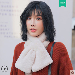 The new Korean version of the woolen scarf women autumn and winter all-match plush collar fur collar imitation rabbit fur collar imitation fur scarf