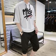 夏季新款套裝男士韓版青年休閑運動修身連帽T恤七分褲學生簡約潮