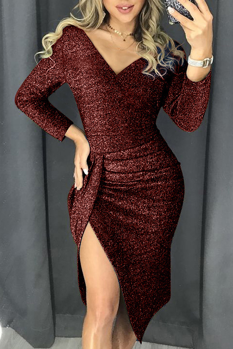 metal wire spring and autumn sexy V-neck long-sleeved high-waist fold slit slim dress  NSSI2419