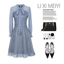 秋新款裙子 复古立领绑带蕾丝袖麂皮绒连衣裙假两件高腰短裙