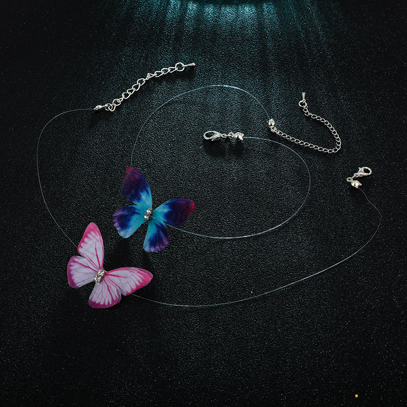 Fashion simple tulle feather butterfly invisible fish line short necklace NHGY131536