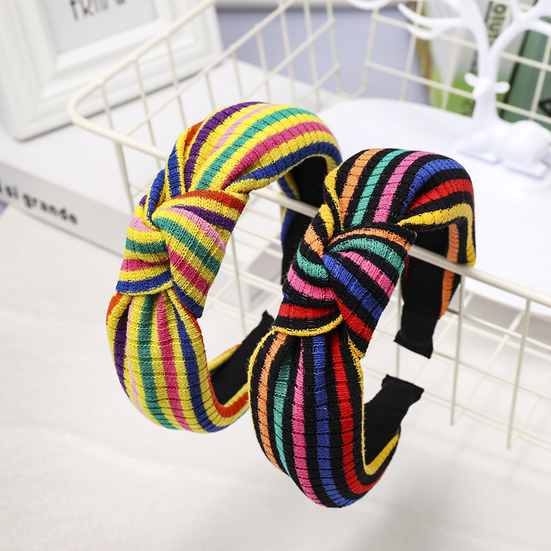 New striped color matching knotted headband NHDM157901