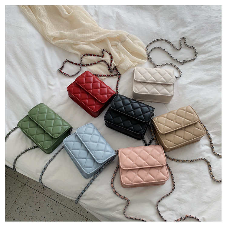 Women's solid color rhombus small square bag chain bag women NHTC195516