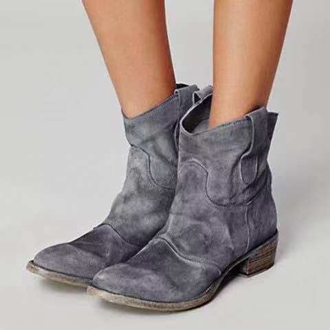 外贸新款秋冬女鞋低跟40-43大码女靴定制款复古短靴女靴