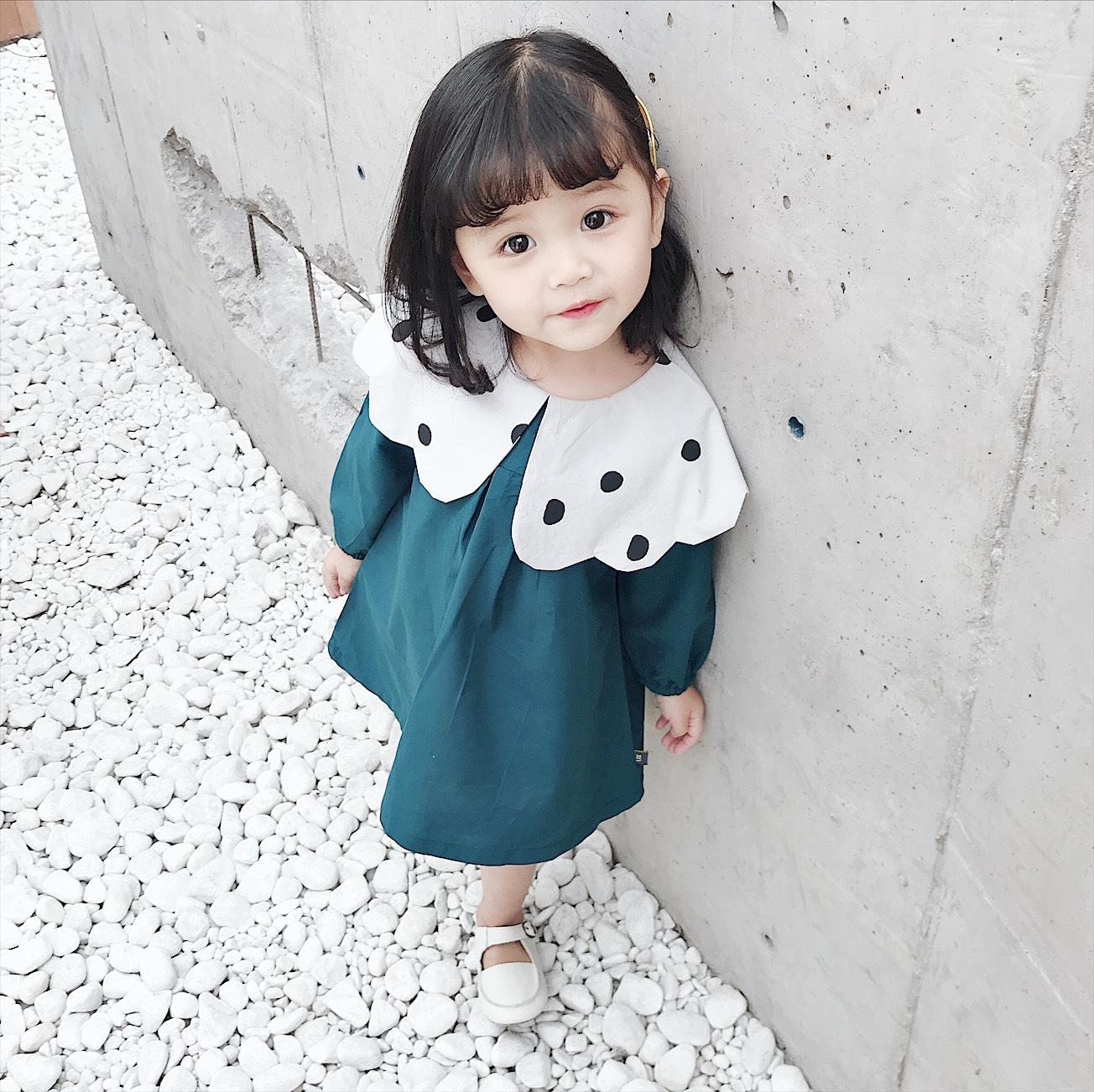 女童娃娃领连衣裙2019春款韩版休闲长袖女孩子新款波点圆领连衣裙