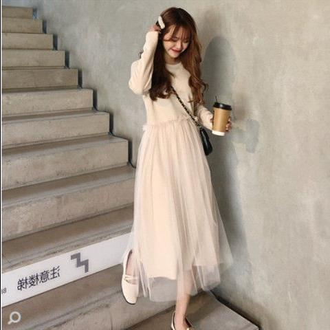 秋冬女装韩版气质纯色甜美拼接网纱中长款打底连衣裙长裙学生裙子