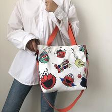 芝麻街印花涂鸦帆布单肩包女2019新卡通韩版购物袋软面斜跨包批发