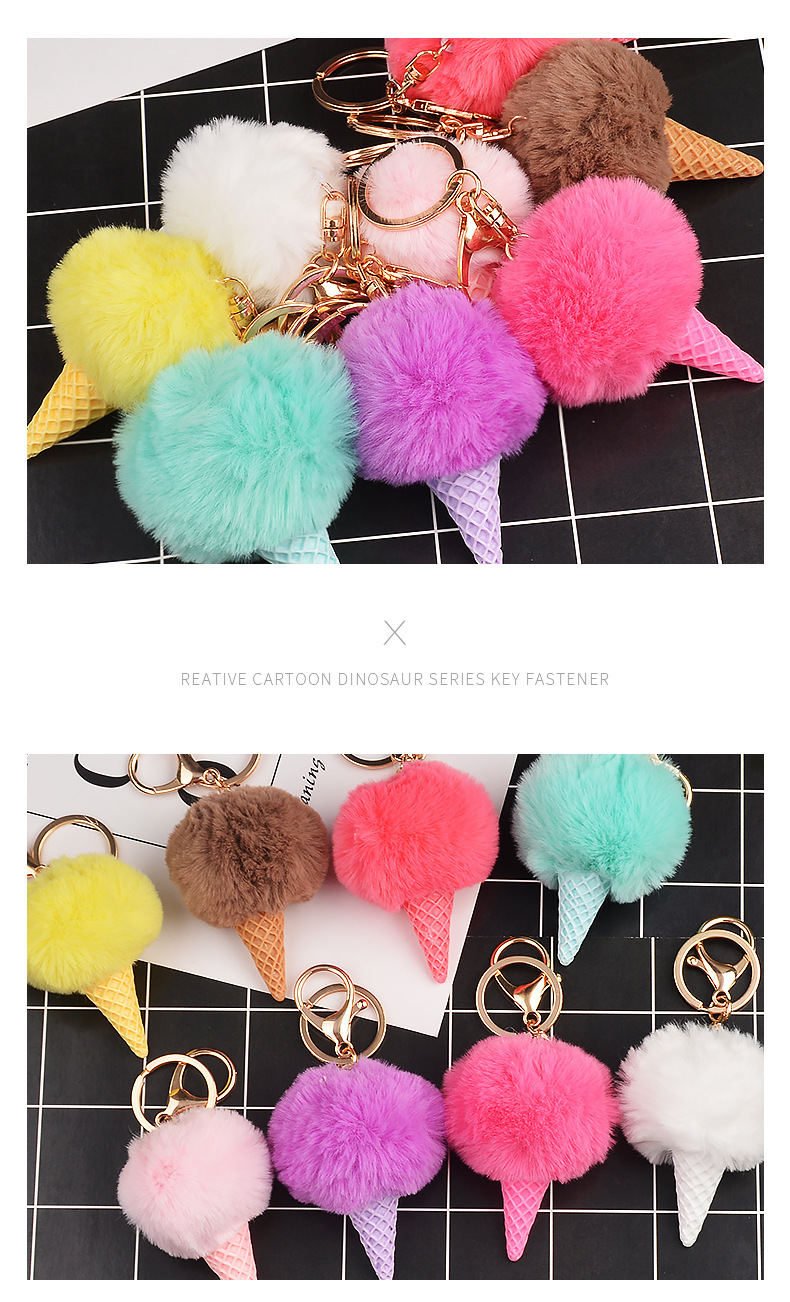 Ice cream hair ball keychain bag pendant car keychain small gift wholesale NHCB199155