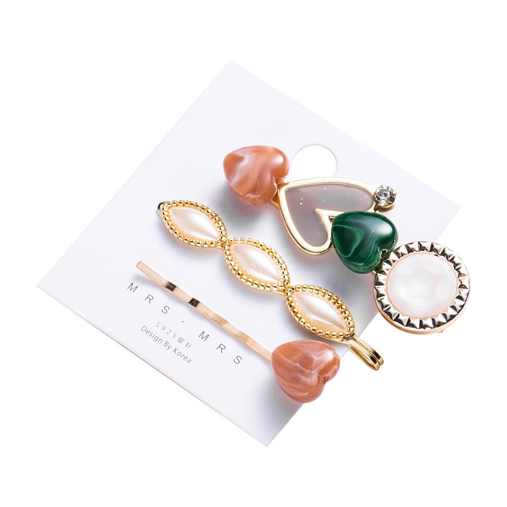 Fashion Hair Clip Set Simple Geometric Acrylic Pearl Hair Accessories Word Clip Wholesale NHYT199909
