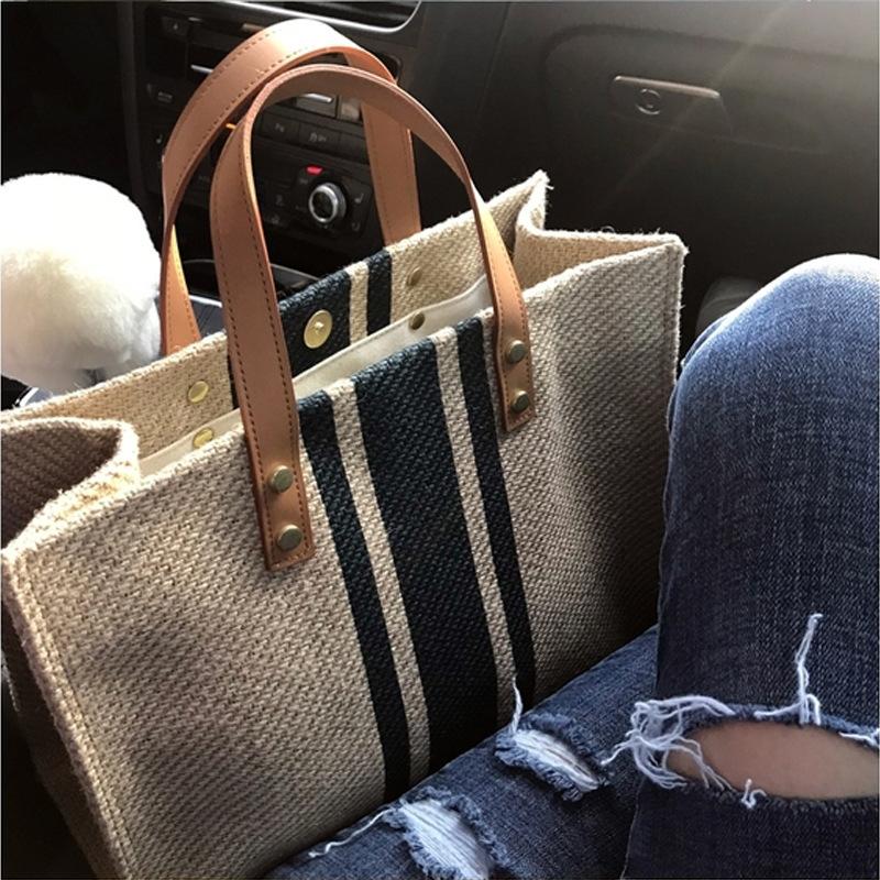 韩版女士手提公文包OL职业商务通勤条纹简约方形帆布大包包单肩包
