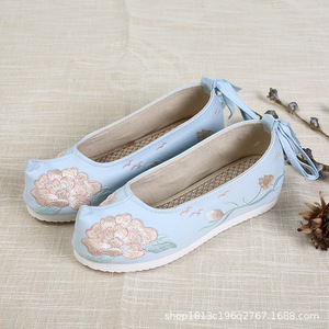 Inner heightening Hanfu shoes ancient shoes for children embroidered china gown shoes for girls