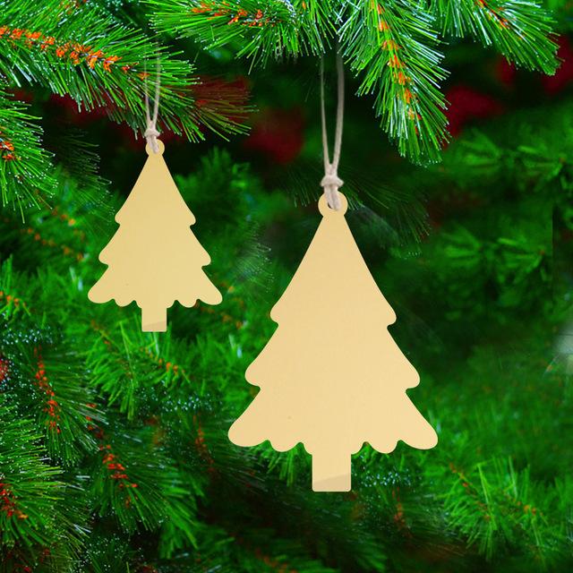 JMS503圣诞节装饰挂件松树金银双色亚克力镜面贴节日装饰挂饰墙贴