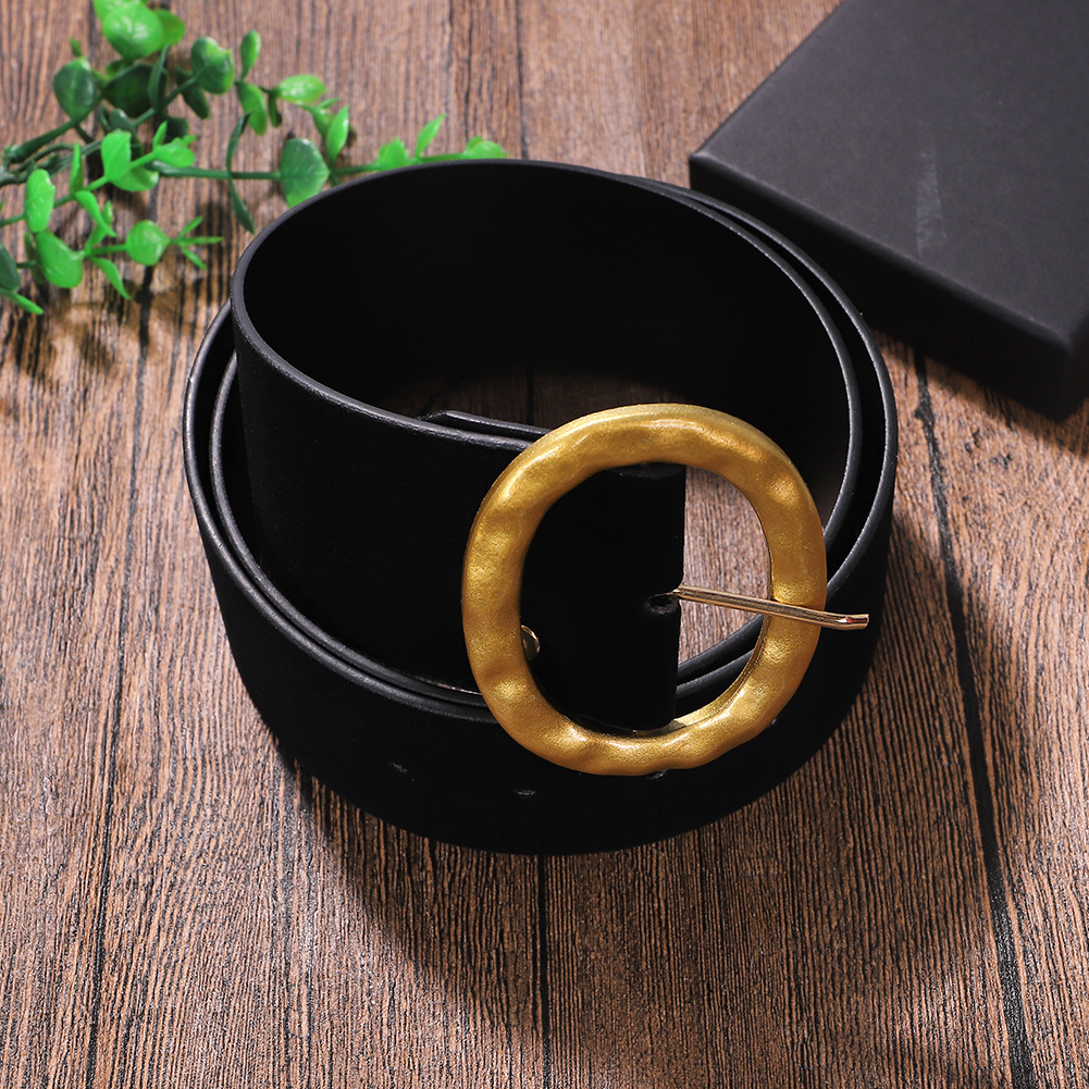 Gold Velvet Alloy Pin Buckle Belt Simple Clothing Accessories New Wild Belt Wholesale NHJQ185855