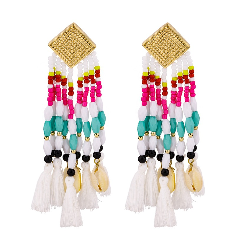 Fashion rice beads tassel conch alloy earrings NHKC150884