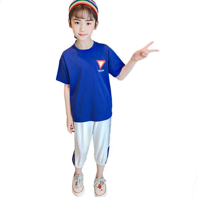 Bộ đồ bé gái mùa hè 2019 phiên bản mới của Hàn Quốc cho bé trai mùa hè thời trang bé gái thời trang trẻ em hai mảnh khí ga Bộ đồ trẻ em