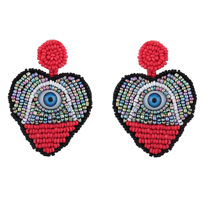 New Devil s Eye Color Heart Bead Earrings NHAS148033