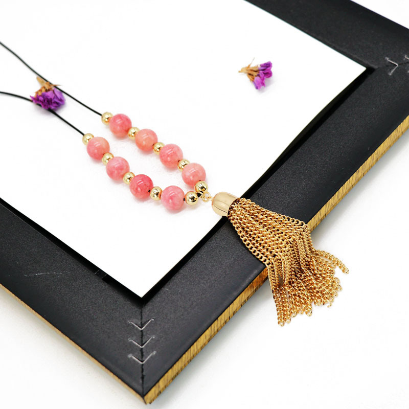 Womens Natural stone beads tassel chain Necklaces NHOM126542