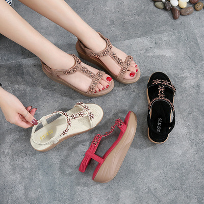 Elastic band wedge heels sandals large size sandals with women sandals