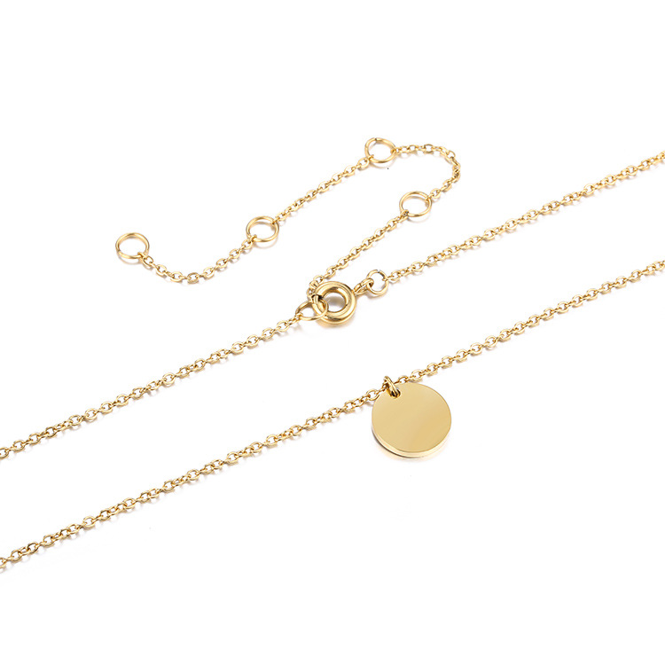 Nuevo colgante simple geométrico redondo de acero inoxidable 316L, collar corto femenino bañado en oro NHTF175339