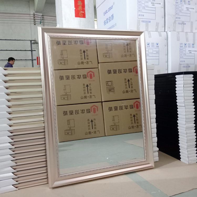 个性定制欧式奢华玫瑰金色PVC胶条包边装饰半身镜浴室镜客厅挂镜