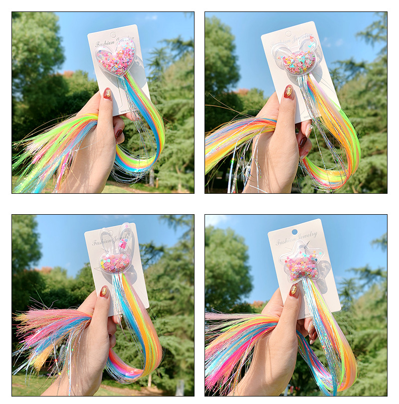 New fashion children's hair accessories unicorn star color wig bow hairpin NHNA207439