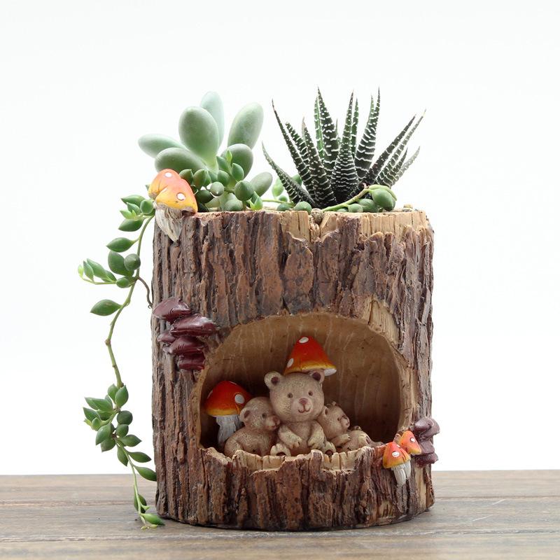 故事花盆摆件树洞田园树脂工艺创意家居桌面小多肉植物景盆