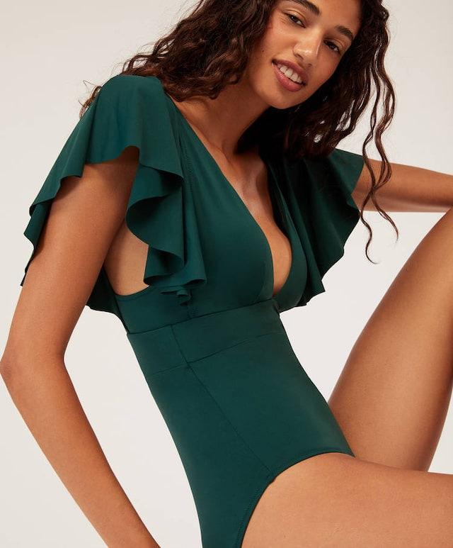 Traje de baño de mujer de moda al por mayor traje de baño sexy volantes de color sólido flecos nuevo bikini de traje de baño de una pieza NHHL198966