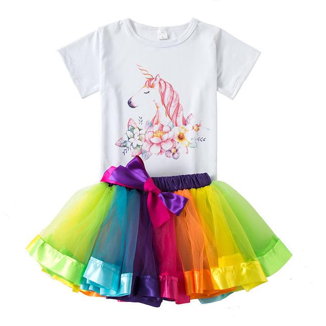 欧美儿童新款彩虹裙套装 夏季宝宝纯棉短袖T恤 女童tutu裙两件套