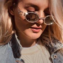 新款歐美女士復古鑲鉆太陽鏡 大牌圓框珍珠墨鏡個性跨境太陽眼鏡