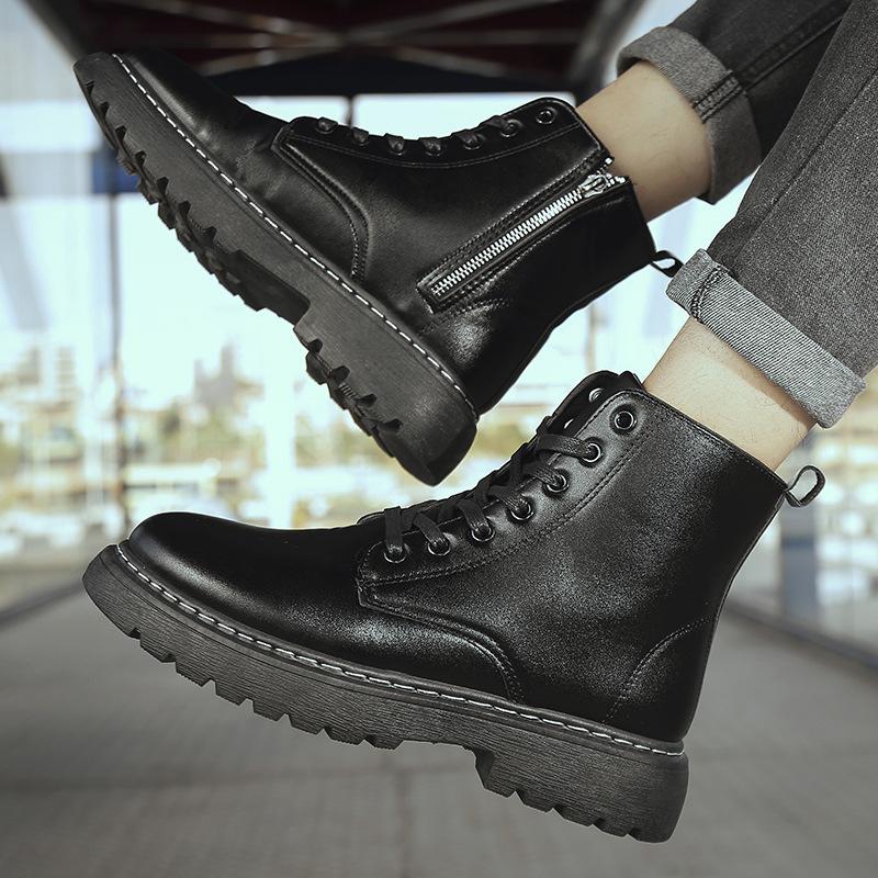 男士马丁靴男2020新款靴侧拉链工装鞋皮面高帮靴子秋冬英伦男袜靴