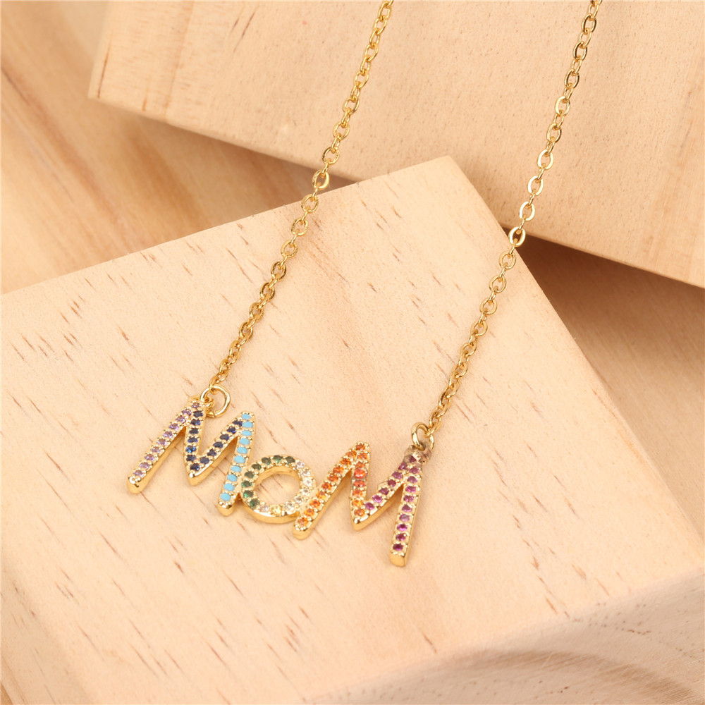Womens Micro-drilled colored zircon Rhinestone Stainless Steel Necklaces NHPY125521