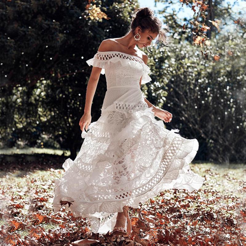 欧美女装蕾丝连衣裙 亚马逊爆款一字肩荷叶婚纱晚礼服 跨境宴会裙