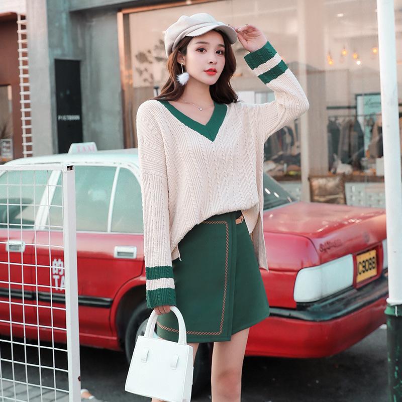 大码秋季新款女装2018胖妹妹韩版毛衣洋气套装胖mm藏肉连衣裙减龄