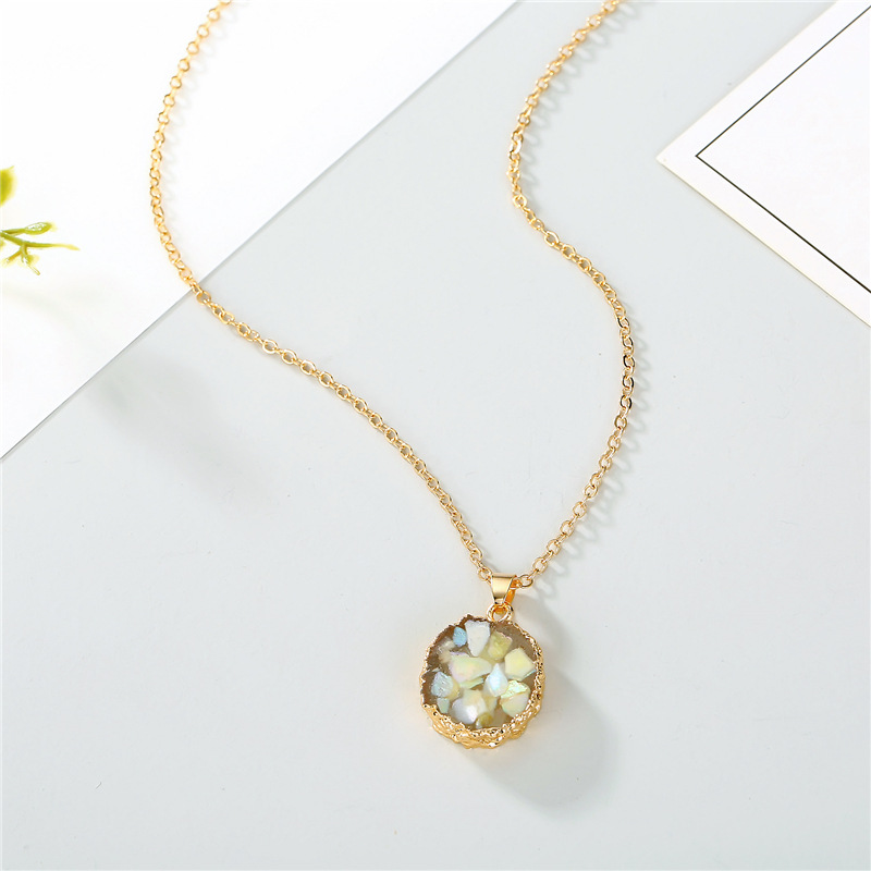 Jewelry Original Shell Necklace Imitation Natural Stone Round Sun Flower Pendant Resin Necklace NHGO196168