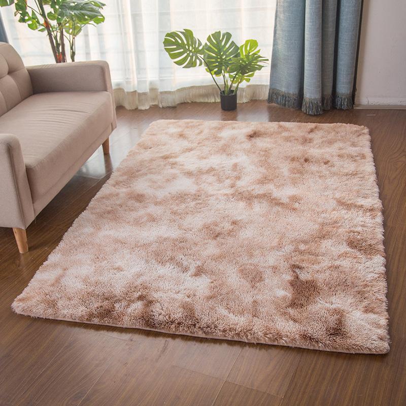 سجادة متدرجة صبغ التعادل متدرجة لغرفة المعيشة وطاولة قهوة صافي أحمر طويل شعر قابل للغسل غرفة نوم حديثة إسكندنافية