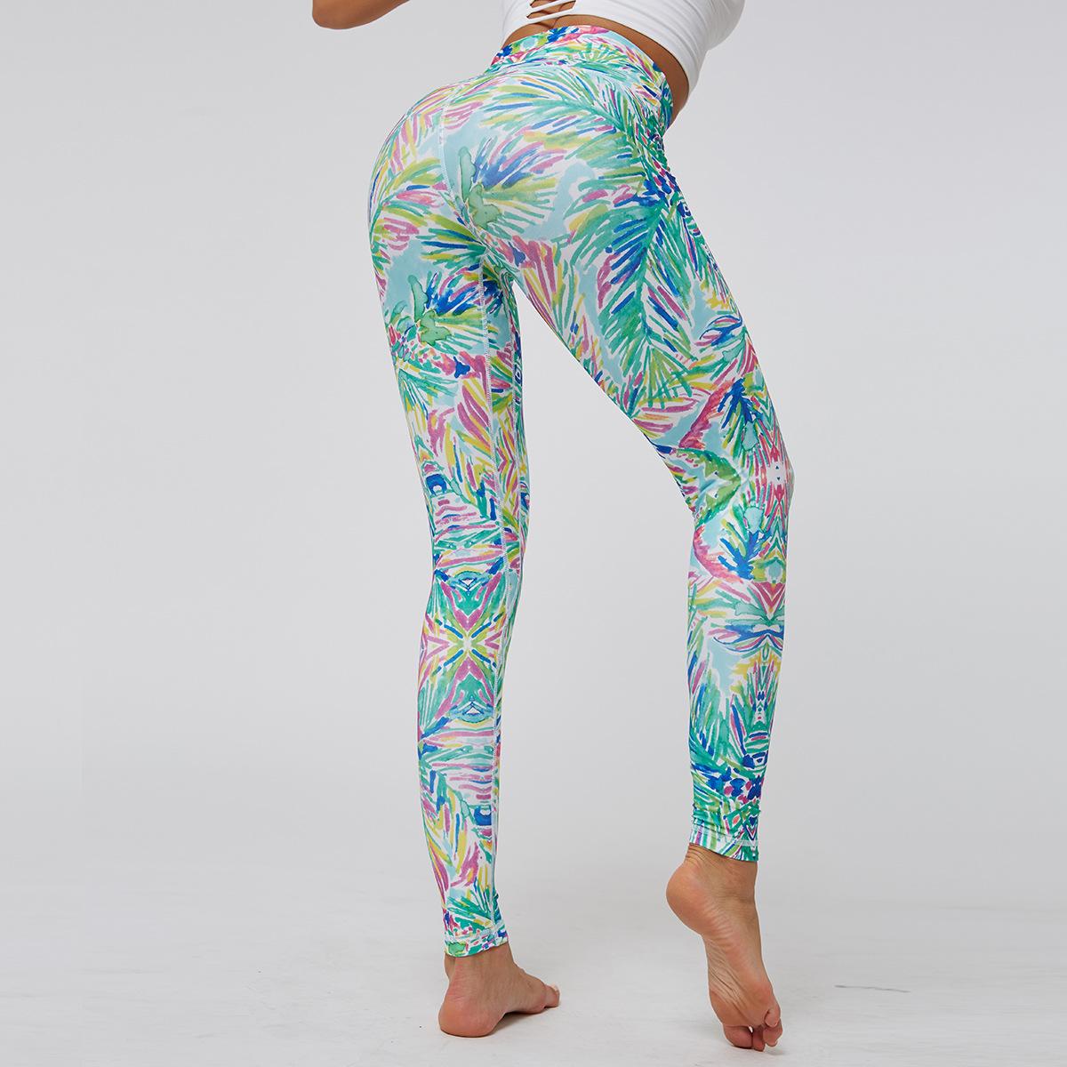 Tight-fitting high-waist hip digital print sports yoga pants NHMA155859