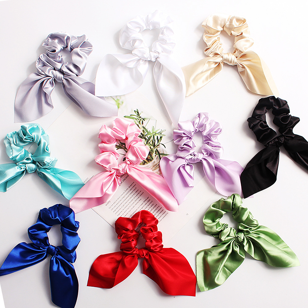 New fashion fabric hair ring satin solid color rabbit ear cheap hair ring wholesale NHDM205040