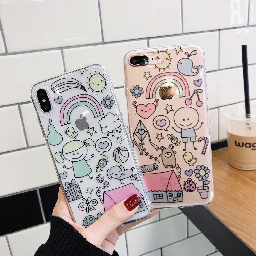 Japanese and Korean personality graffiti girl for Apple iPhone8/xs mobile phone shell 7plus protective cover 6 soft creative models