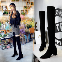 1988-6 Euro-American fashion, simple, thick heel, high heel, pointed suede, sexy nightclub, slim and over knee boots