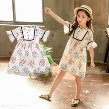 夏季新品圆点雪纺连衣裙 中大童甜美短袖裙 花边荷叶袖碎花连衣裙