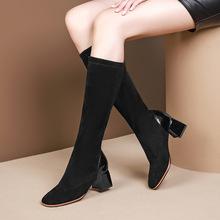 欧美秋冬真皮弹力绒休闲粗高跟女靴牛漆皮高筒短靴两种筒高A509