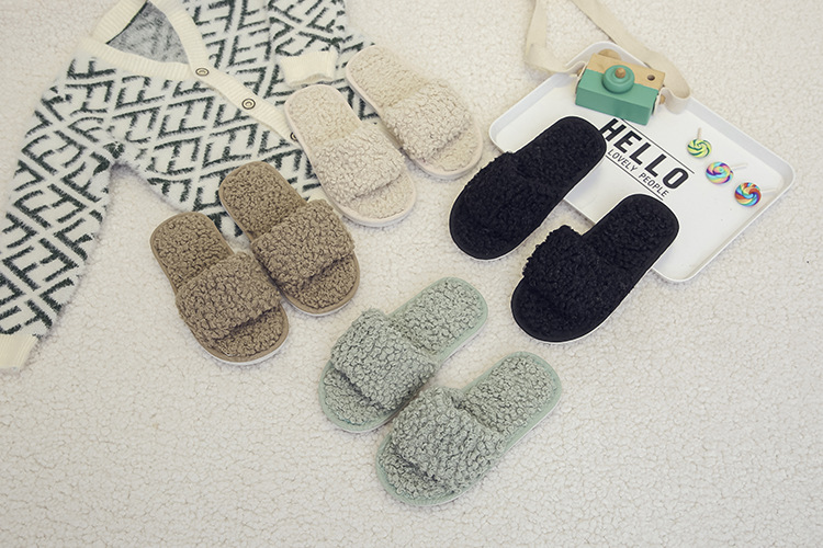 new lamb wool opening childrens slippers NHPE281590