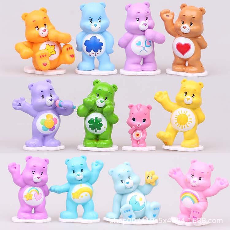 彩虹熊爱心熊12款公仔手办蛋糕微景观摆件七彩熊仔