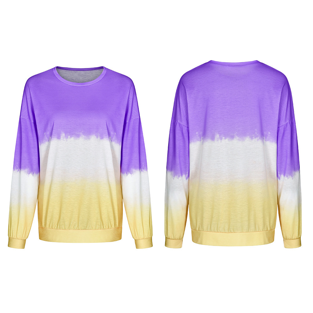 autumn and winter new rainbow gradient printed sweater  NSDF106