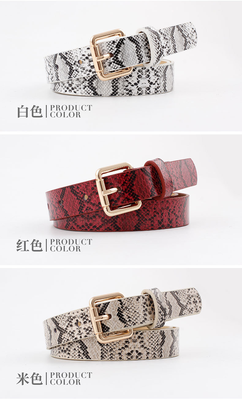 Fashion woman imitation leather snake metal buckle thin belt strap for jeans multicolor NHPO134197