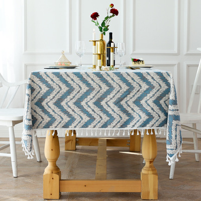 Tablecloth table cloth table cover Party table dustproof tassel stripe wave party dining room cotton linen decorative art table cover