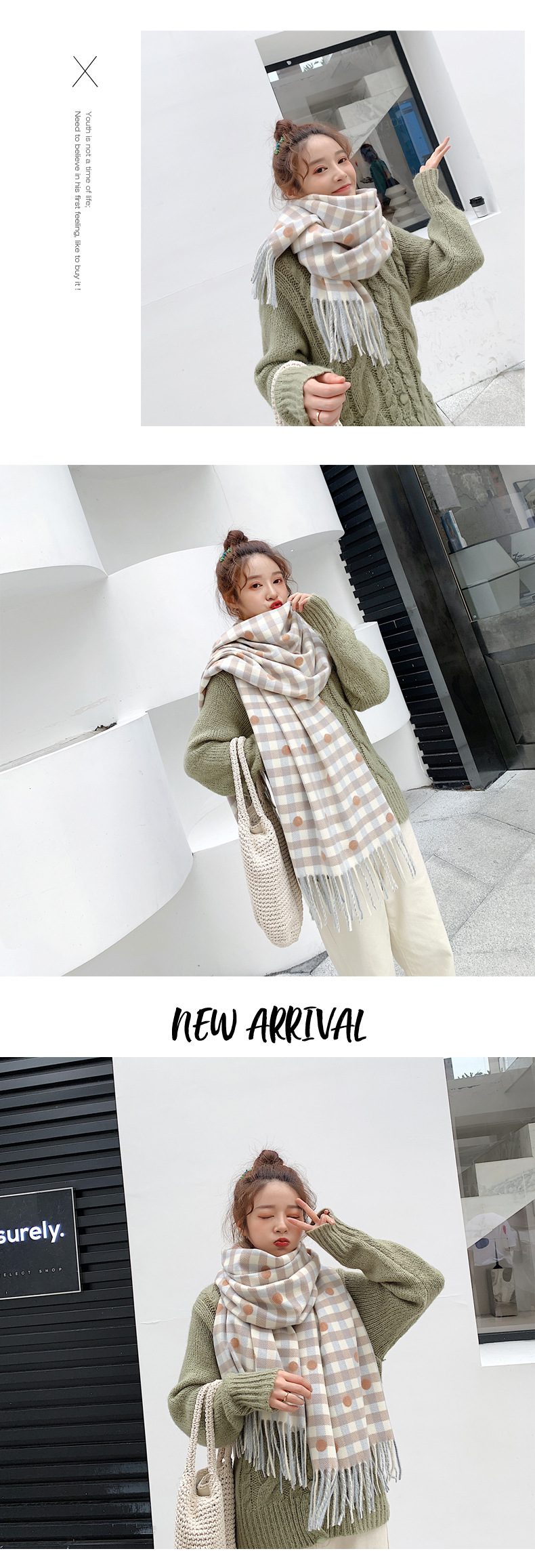 Stylish and simple thick polka dot imitation cashmere scarf NHTZ154890