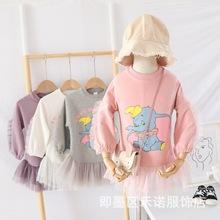 中小童卡通小象印花連衣紗裙 韓版童裝秋季新款女寶寶甜美衛衣裙