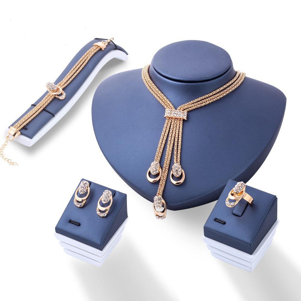 欧美时尚夸张水晶首饰新娘手链戒指项链耳环四件套装热卖流行饰品