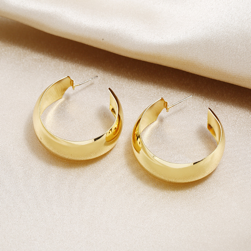 S925 silver pin metal C-shaped exaggerated ring earrings wholesale NHKQ192361